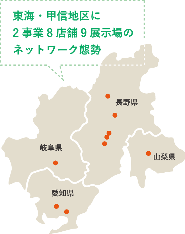東海・甲信地区に2事業8店舗9展示場のネットワーク態勢